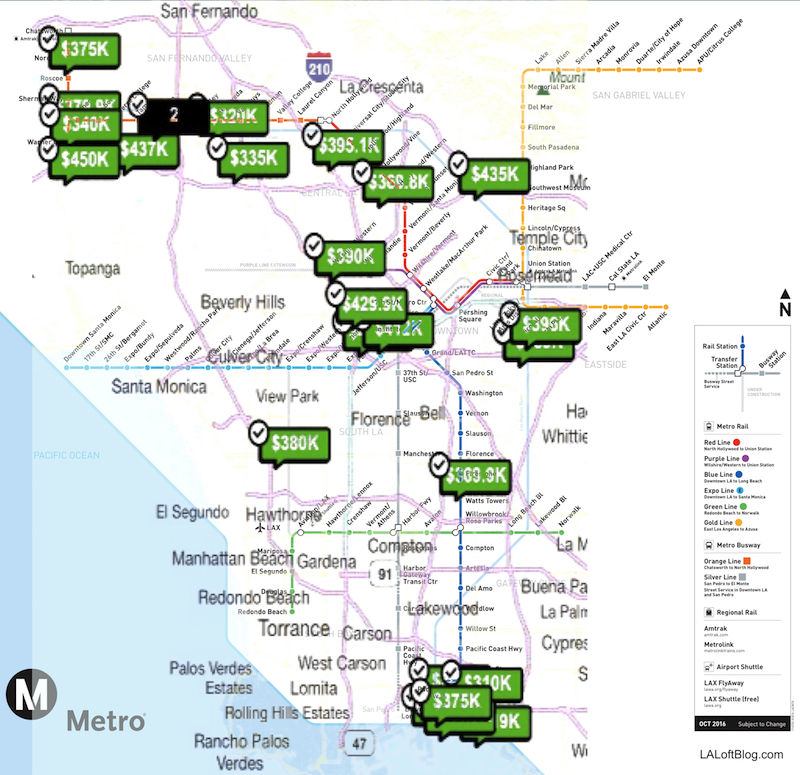 Downtown Los Angeles Metro Map on